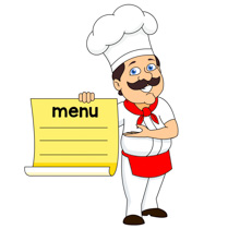 chef with mustache showing off menu clipart